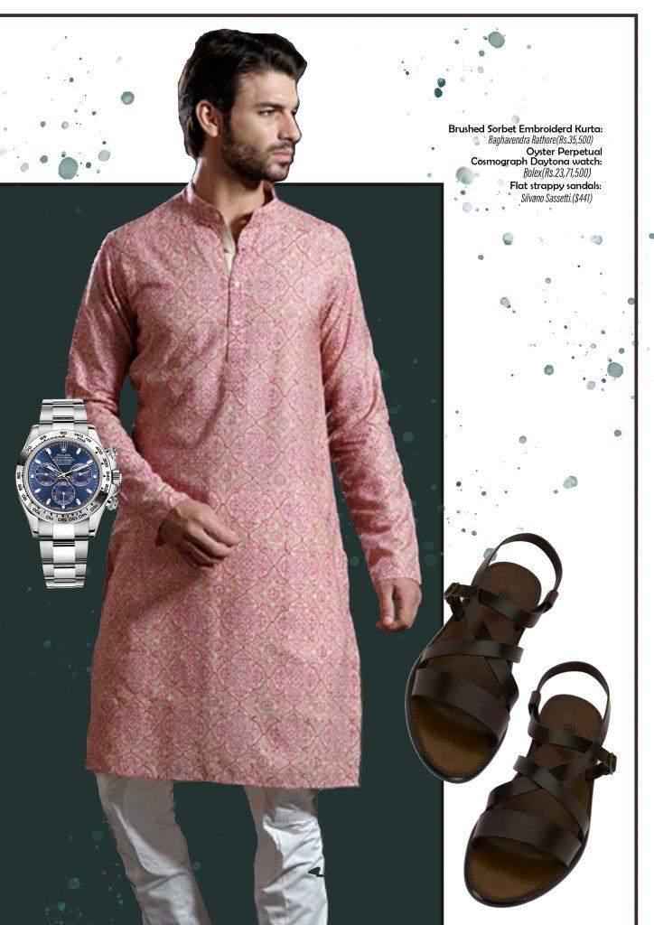 raghuvendra rathore kurta rolex watch silvano sassetti sandals