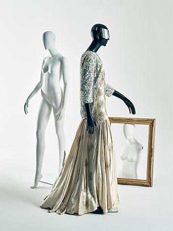 Balenciaga jacket, early 1960s. Dress by Norman Hartnell, circa 1935.