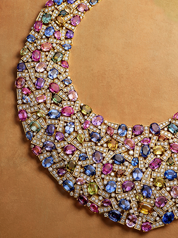 Bib necklace in gold with multicolour sapphires and diamonds, 2005. BVLGARI Heritage Collection.
