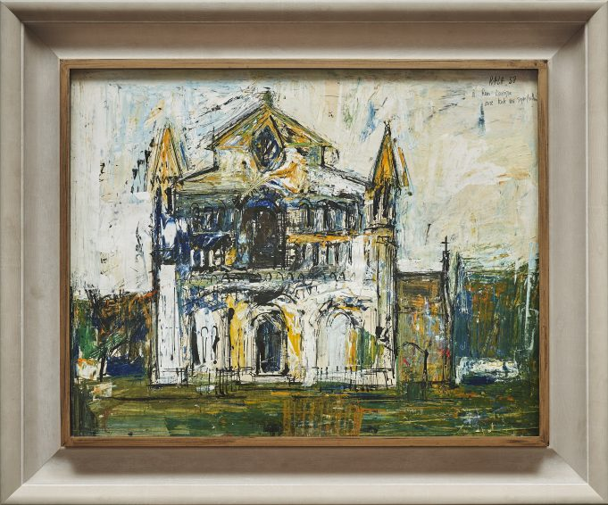 S.H. Raza, Untitled (Church), gouache ink and oil on paper, 19 x 25.5 inches, 1958