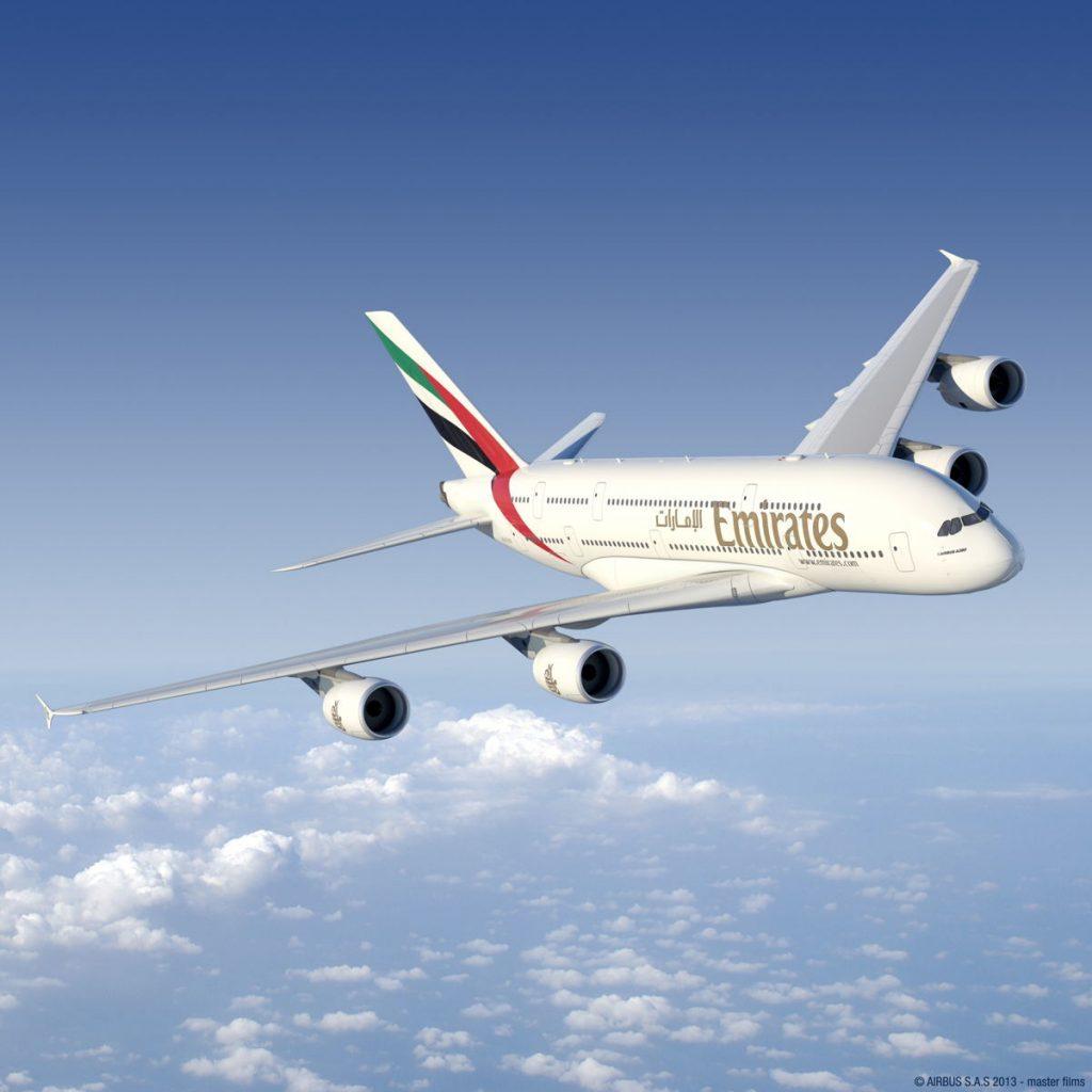 An Emirates Airbus A380 aircraft