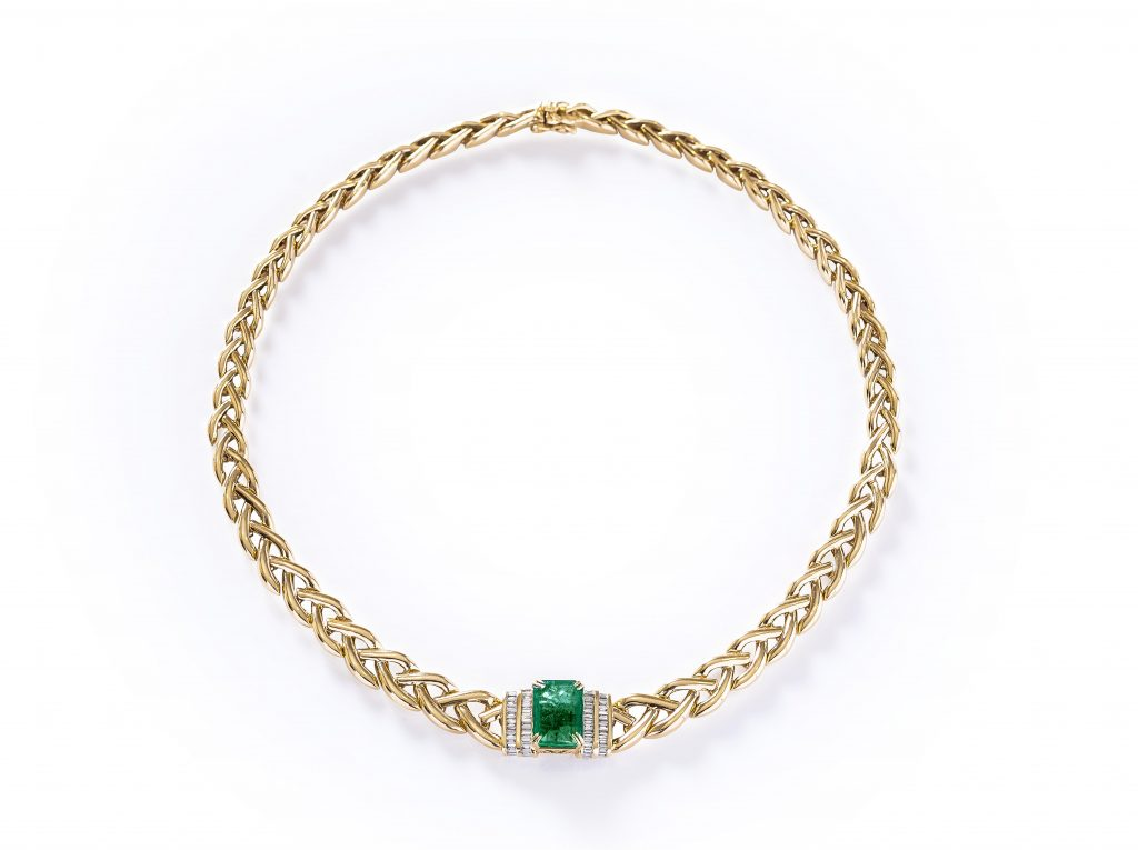 Kainaaz' look for Style Digest 2.0: Emerald and Gold Braid Necklace, Hollywood Collection