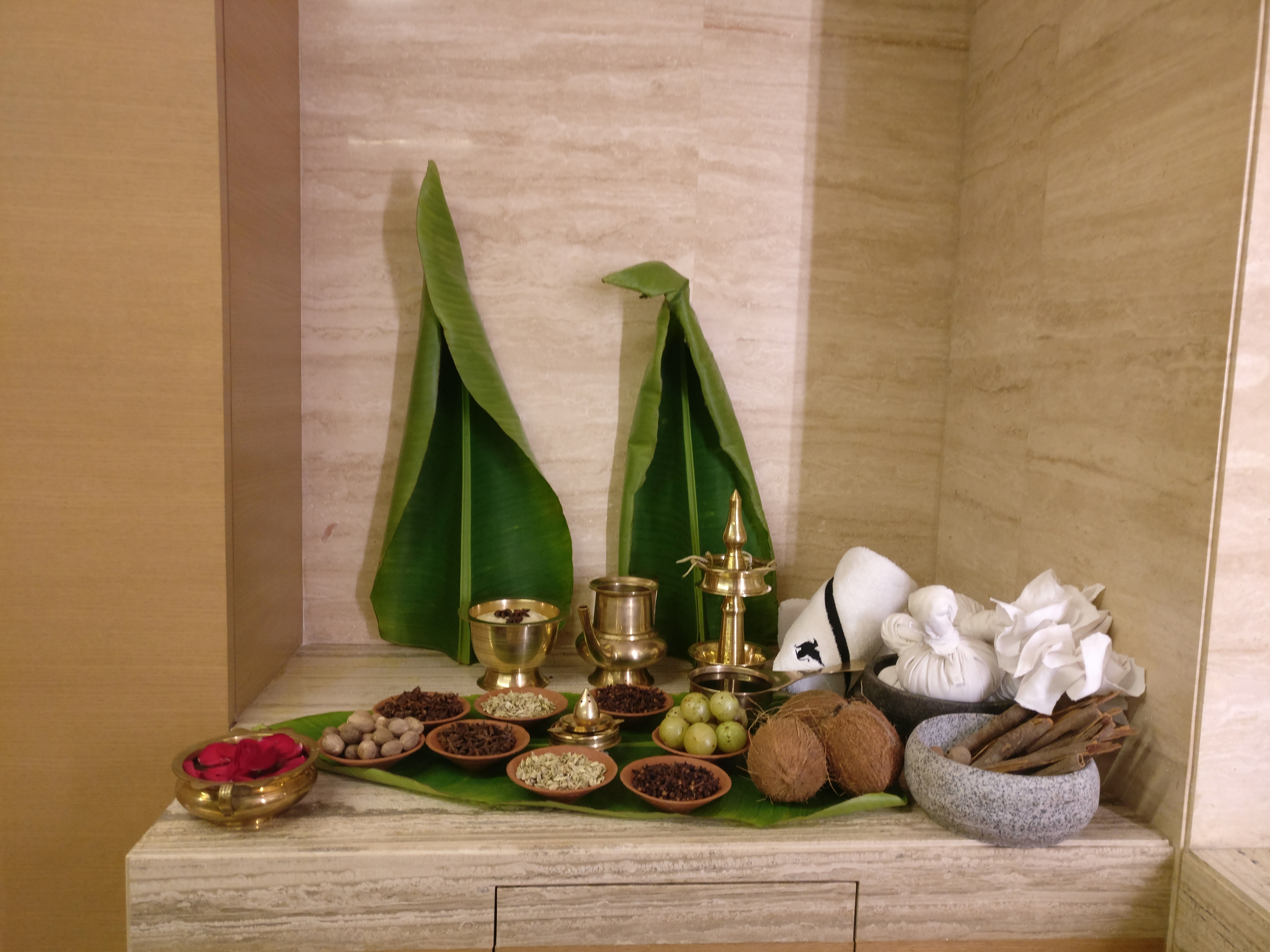 Natural herbs and Ayurvedic concoction laid out on a table in the spa room
