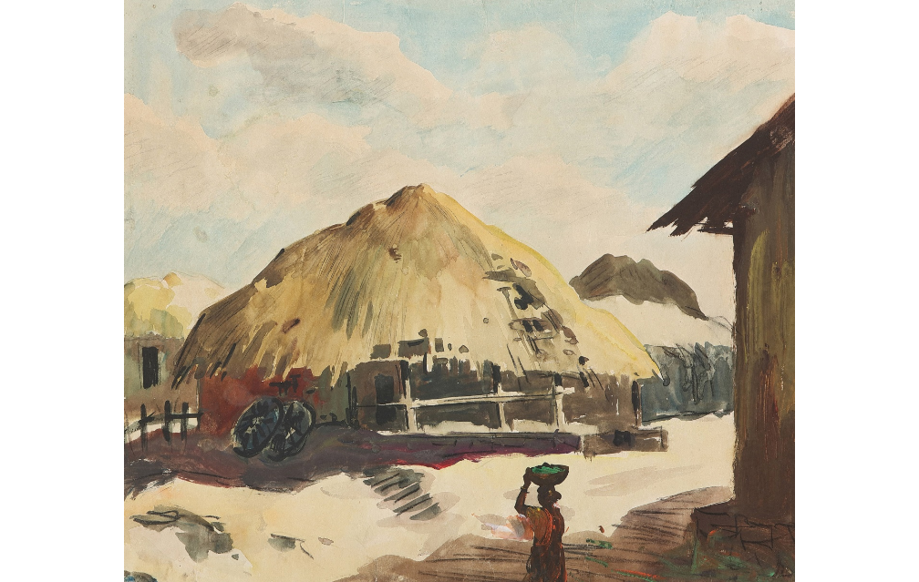 Lot 10- S H Raza, Untitled (Village scene), 1944, Watercolour on paper pasted on mountboard, 14.5 x 17 in, Rs12,00,000-15,00,000