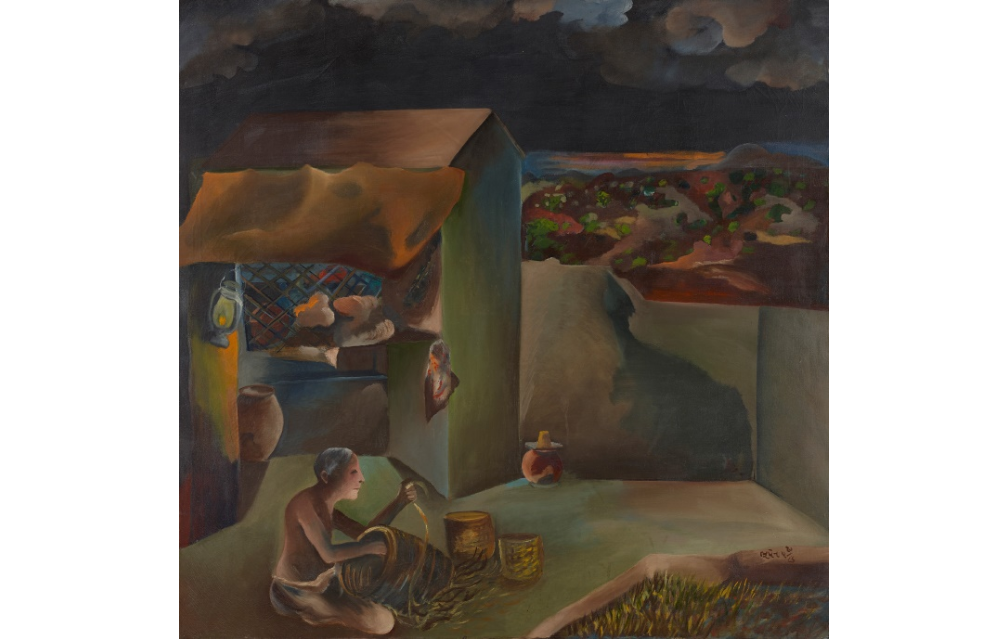 Lot 42- Bhupen Khakhar, Untitled, Oil on canvas, 36 x 24 in, Rs18,00,000-22,00,000