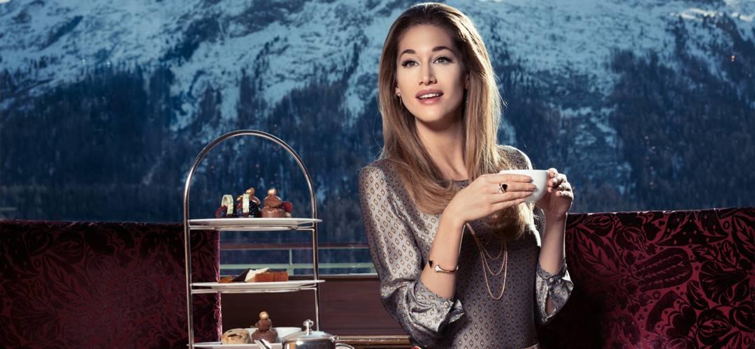 Afternoon Tea at Badrutt's Palace Hotel, St. Moritz