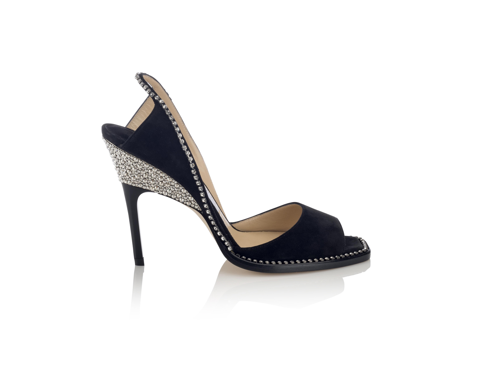 Bel, crafted with crystals and wedge-stiletto heels