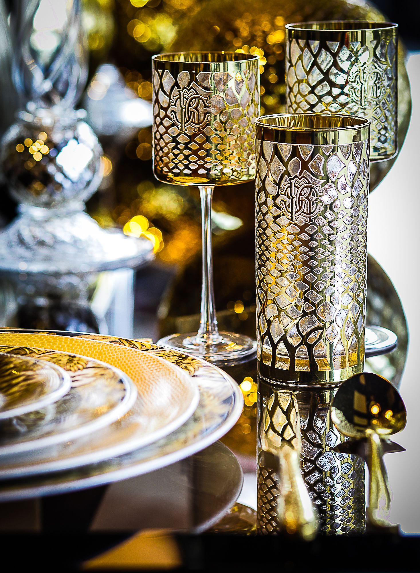 ROBERTO CAVALLI HOME| Marrakech Gold Glasses