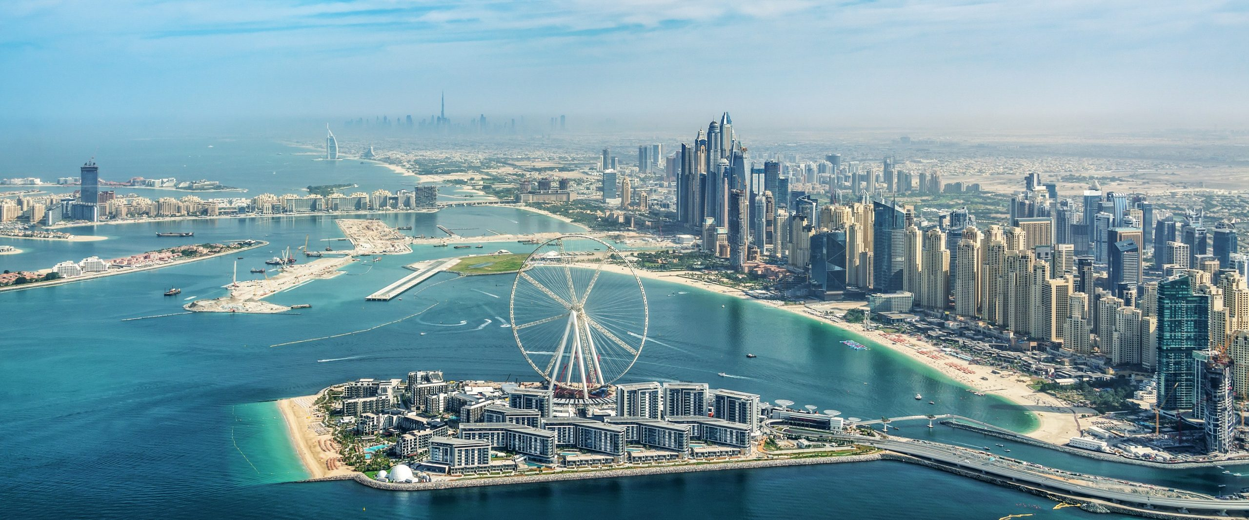 View of Dubai skyline from Seawings Seaplane