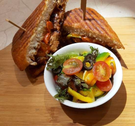 Barbecue chicken panini, 24/7 Gallery Café, Hyatt Place, Hyderabad