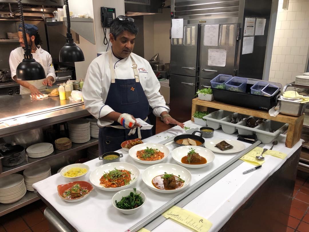 Chef Floyd Cardoz inside The Bombay Bread Bar's kitchen
