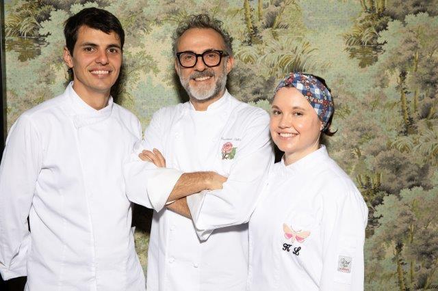 (L-R) Chef Mattia Agazzi, Chef Massimo Bottura, Chef Karime Lopez