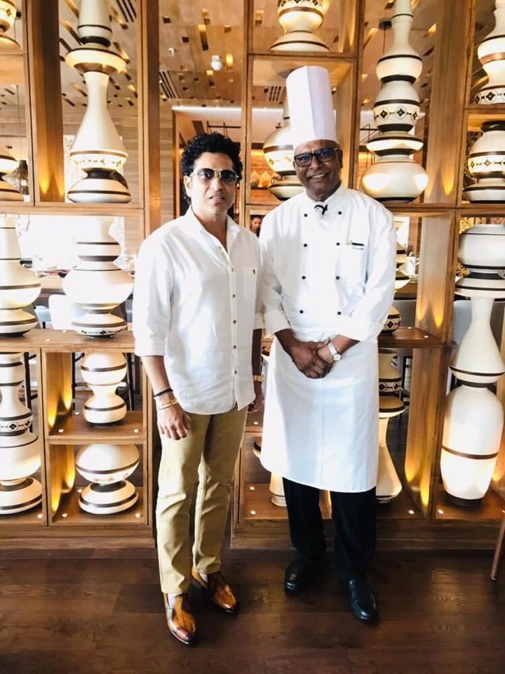 Chef solomon with Sachin Tendulkar