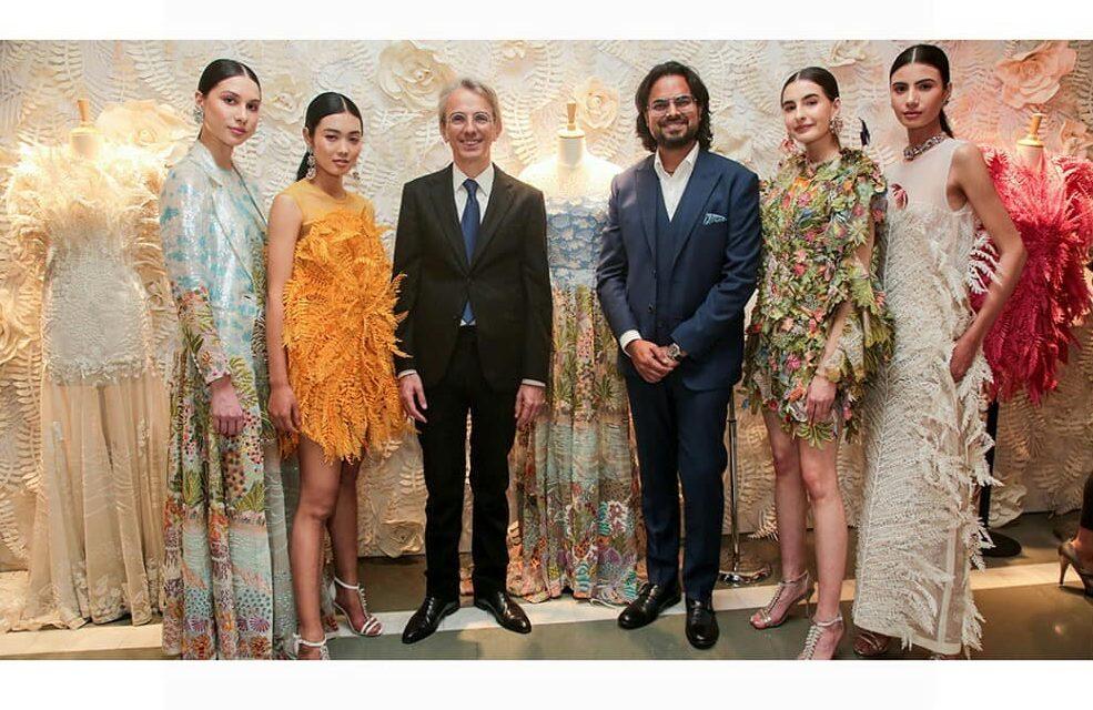 French Ambassador to India Emmanuel Lenain and designer Rahul Mishra with models