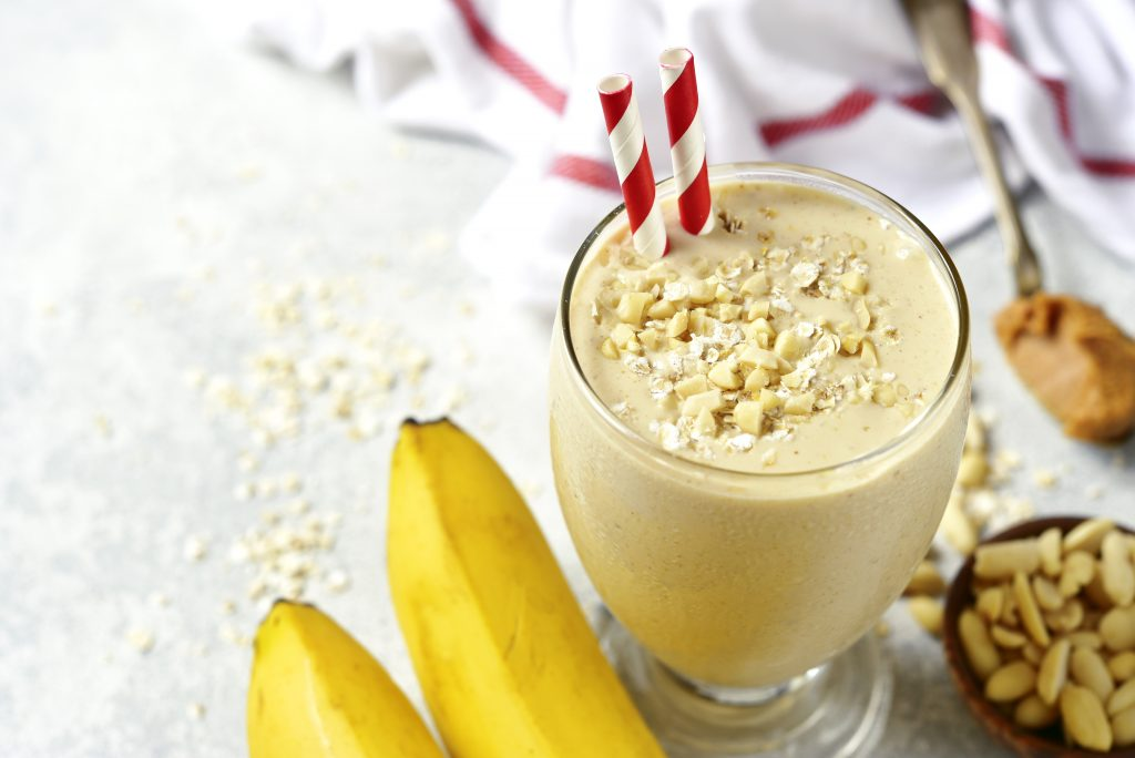 Peanut butter and honey oats smoothie