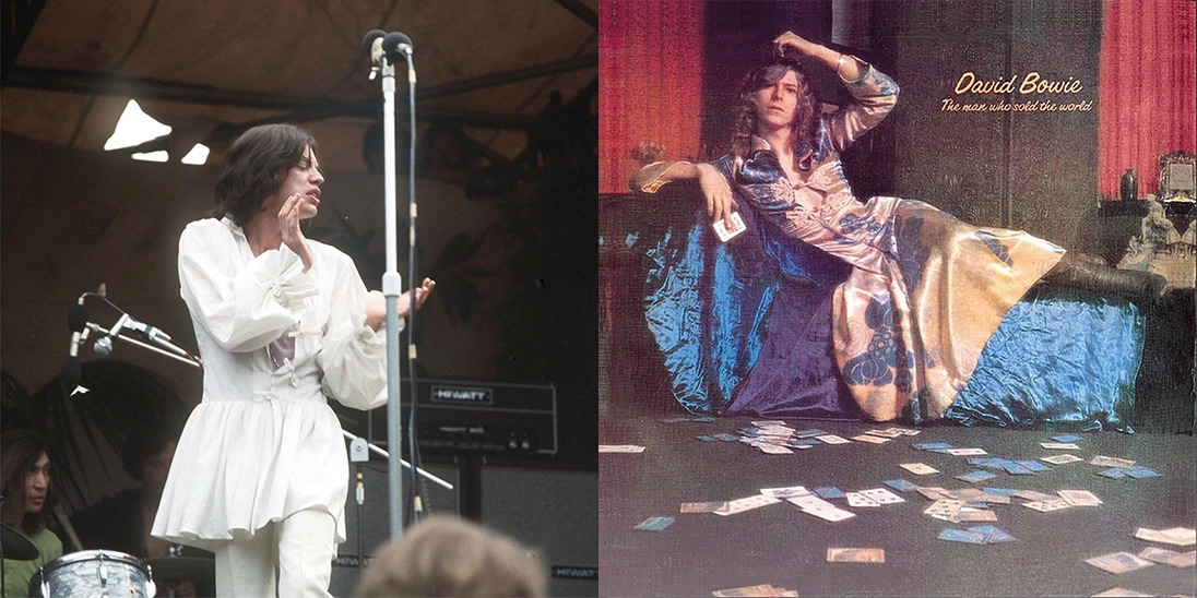 Mike Jagger and David Bowie in Man dresses. Source: Mason & Sons