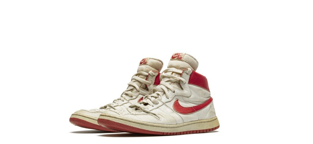 Michael Jordan's game-worn Air Ship Nike Sneakers. Courtesy: Christie's