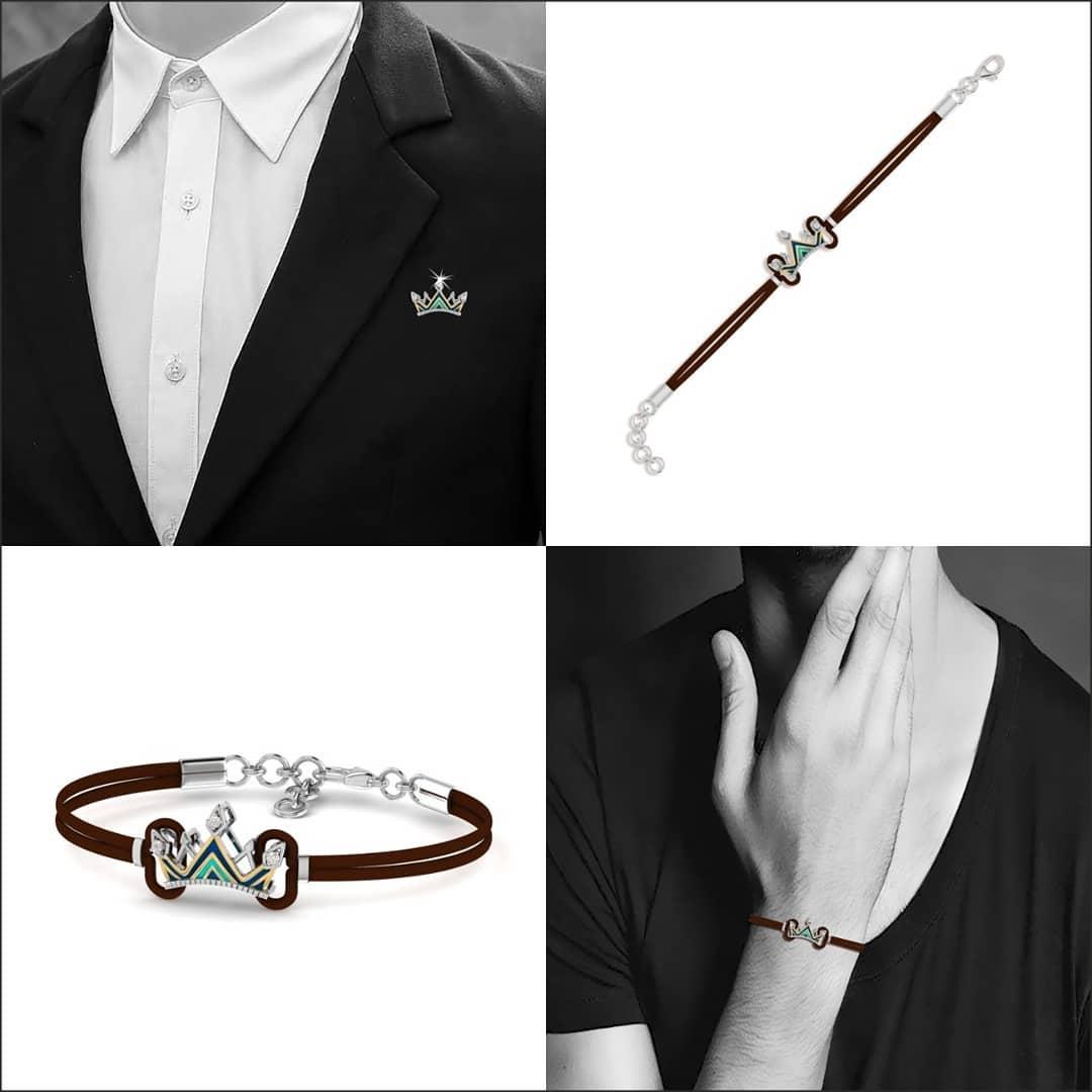The king silver diamond Rakhi bracelet. Source: Instagram - PC Jewellers