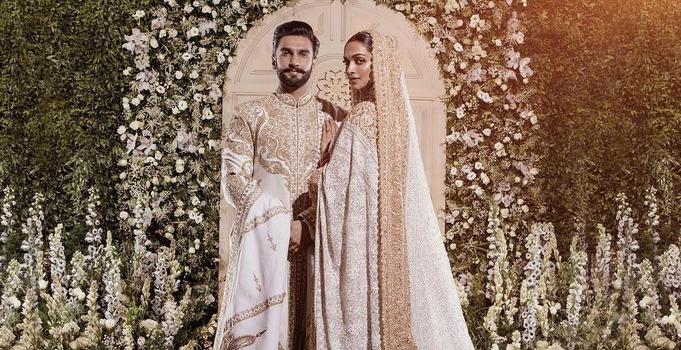 Deepika Padukone in an Abu Jani Sandeep Khosla chikankari sari for wedding with Ranveer Singh in 2018