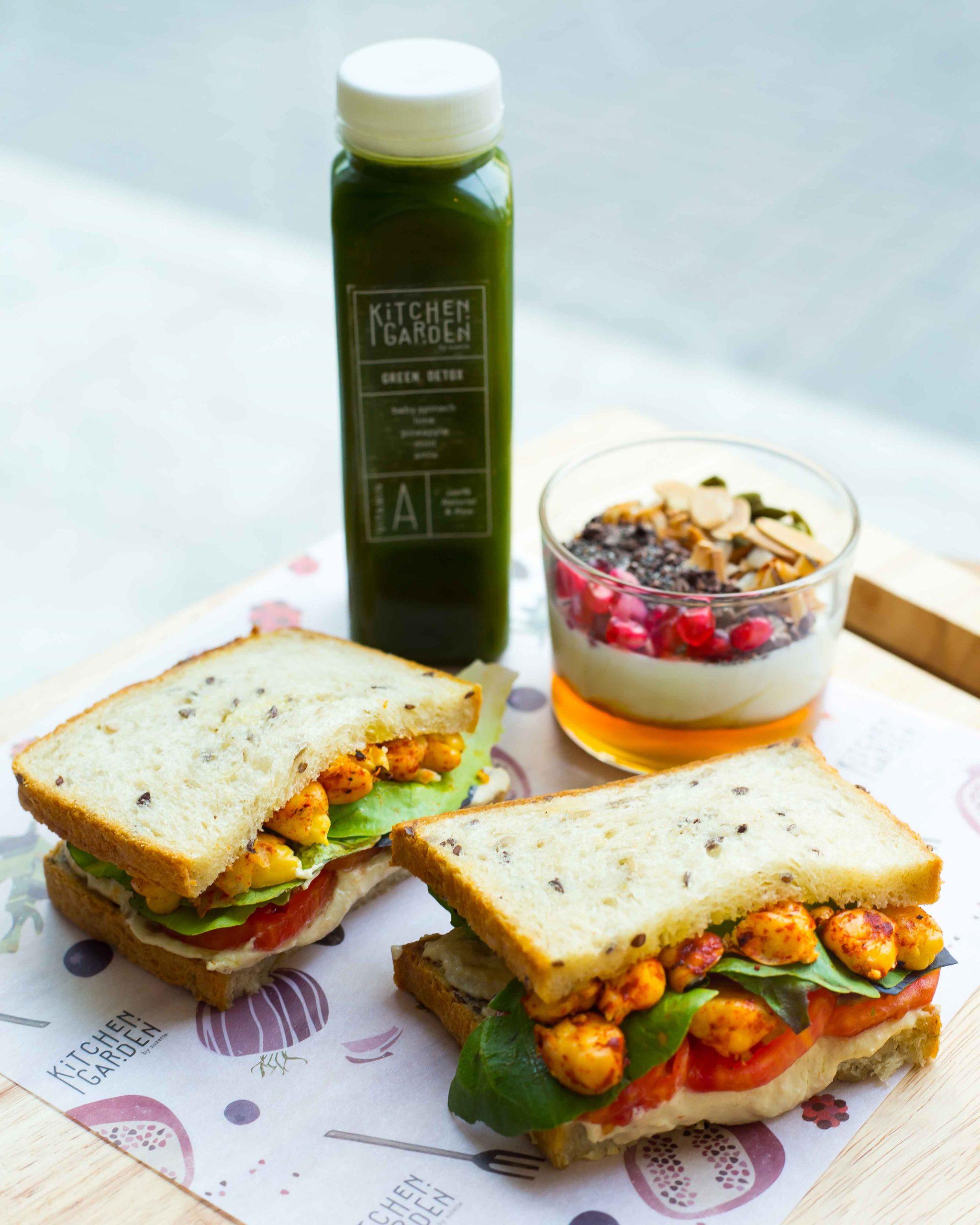Hummus Multigrain Sandwich with green detox juice. Courtesy: Suzette