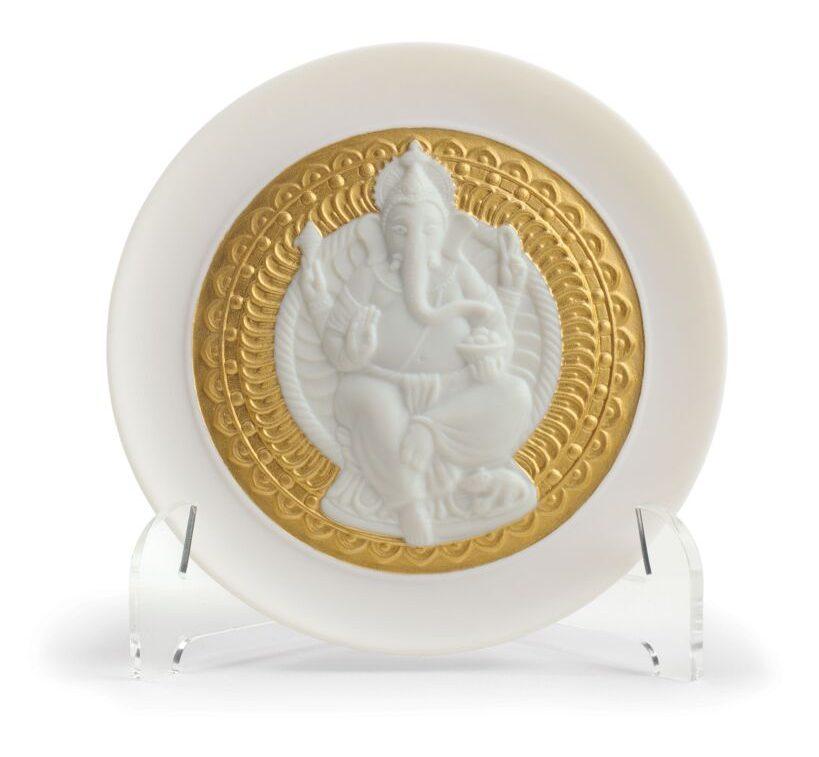 Lord Ganesha Decorative Plate. Golden Lustre. Courtesy: Lladro