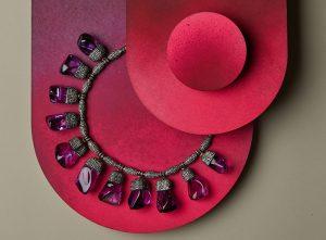 Arundhati De-Sheth amethyst necklace with diamonds