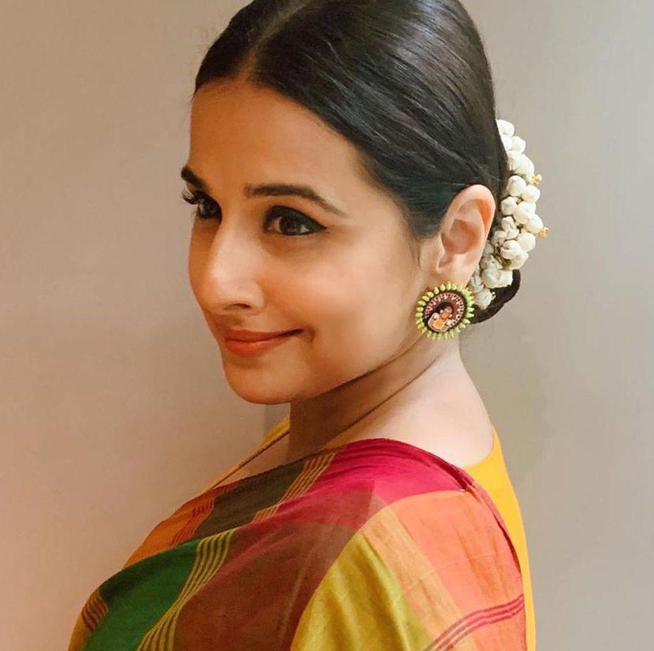 Vidya Balan wearing Theyyam earrings by Razia Kunj