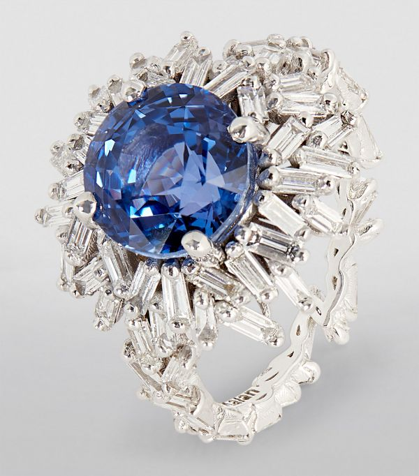 White Gold Diamond and Sapphire Fireworks Ring, Suzanne Kalan