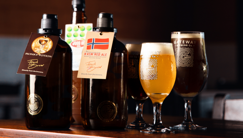 Craft beer growlers by Gateway Brewing Co. in Mumbai