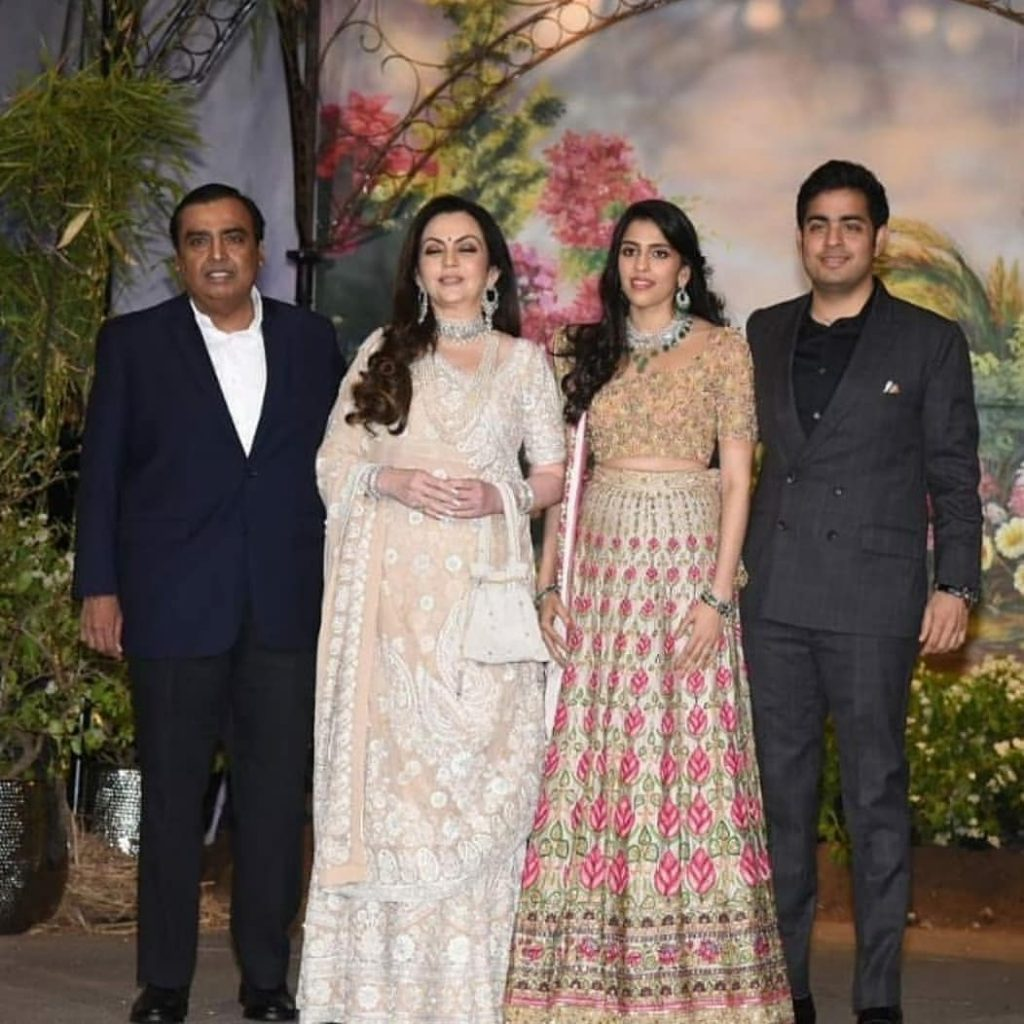 Mukesh, Nita, Shloka and Akash Ambani