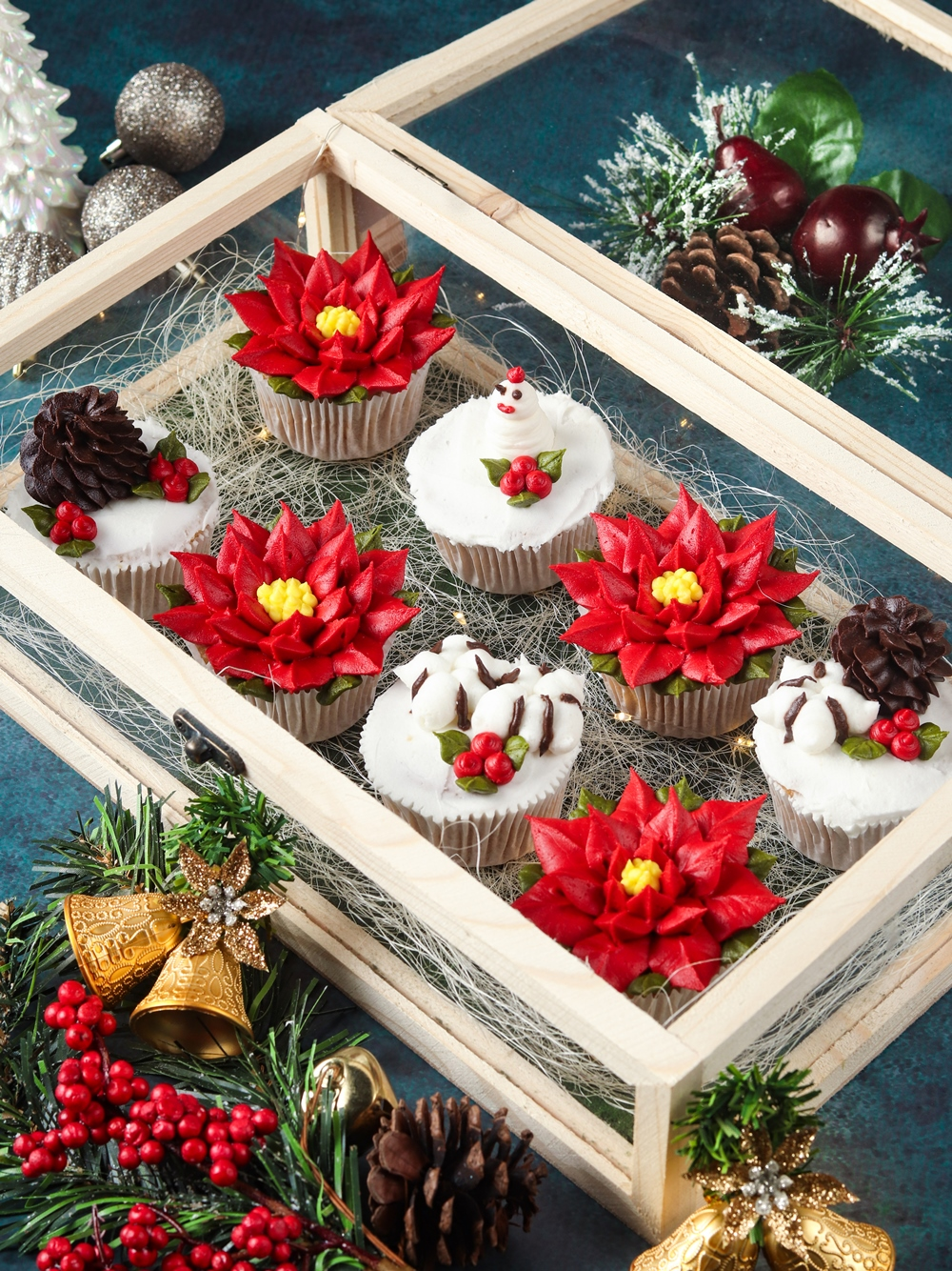 Sheetal's Baked With Love- Cupcakes in Poinsettia and pine cones