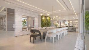 dining room with minimal lighting