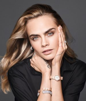 Gem Dior collection worn by Cara Delevingne. Photo credit: Instagram/Dior