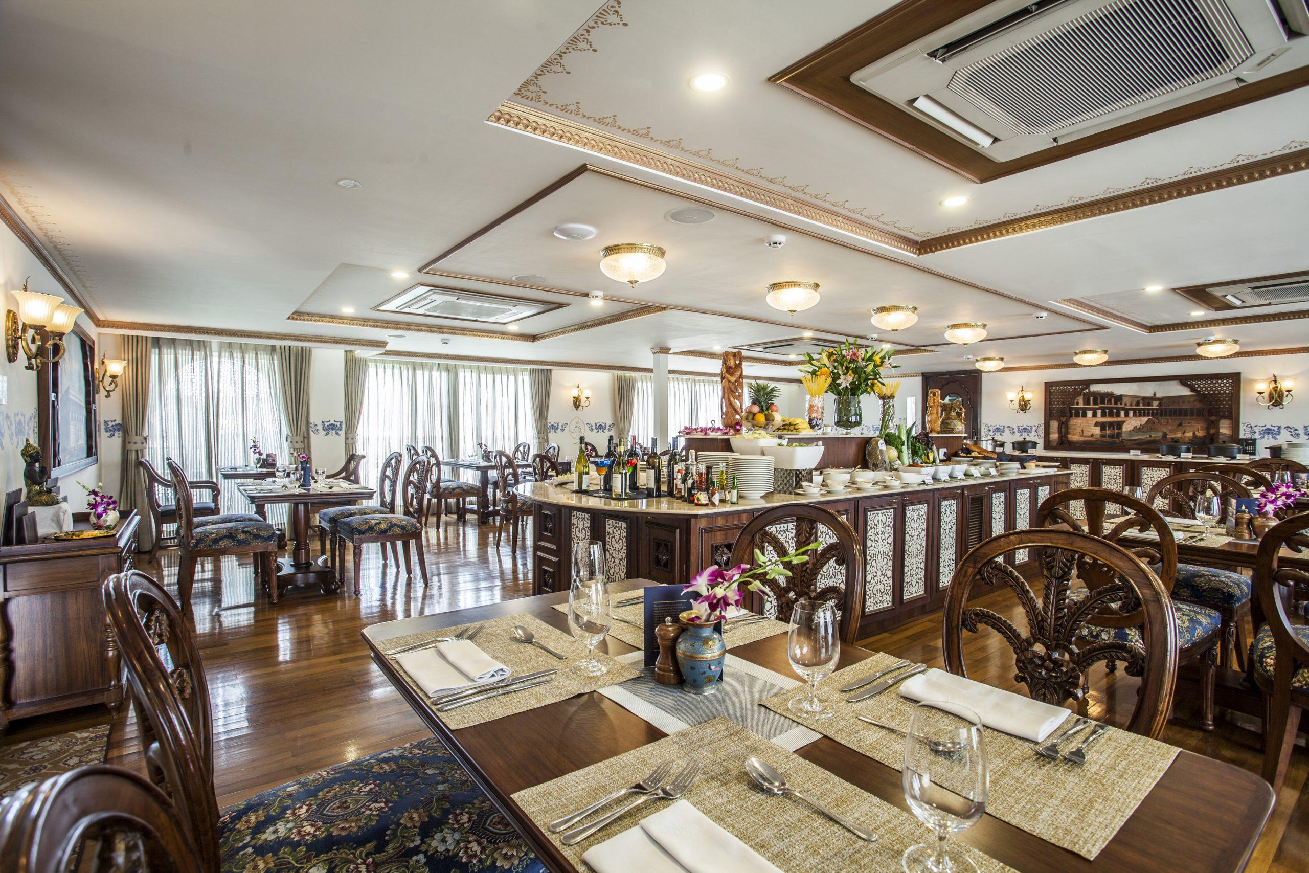 The restaurant on Ganges Voyager -II serves multi-cuisine food