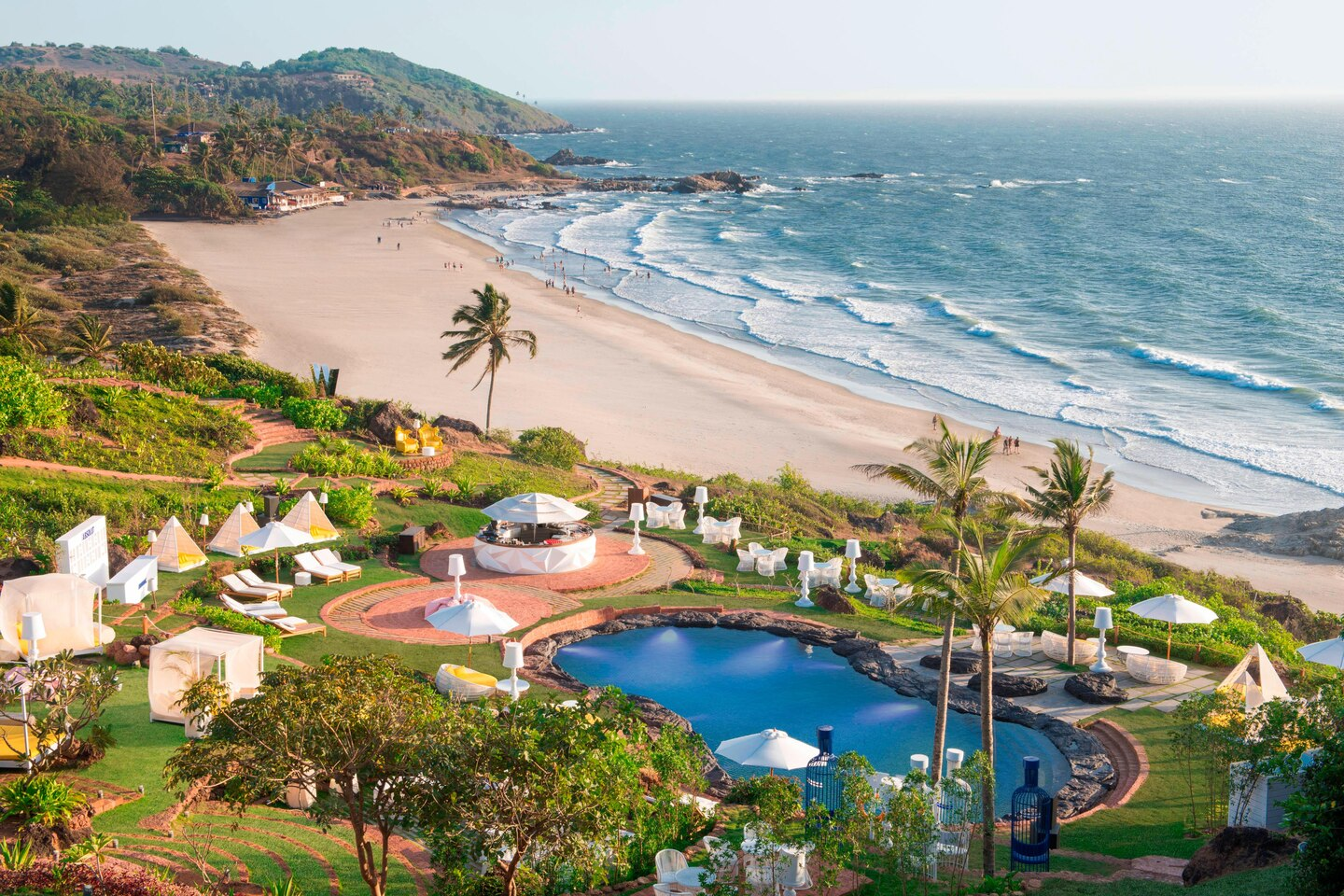 View of the Vagator beach and W Goa