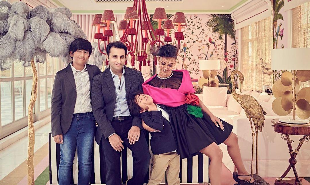 Adar and Natasha Poonawalla with their kids Cyrus and Darius
