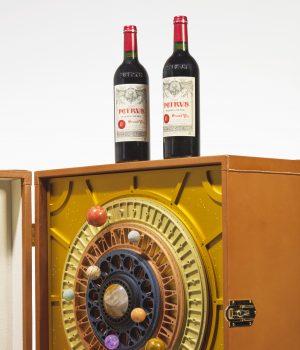 A bottle of space-aged Pétrus 2000 wine
