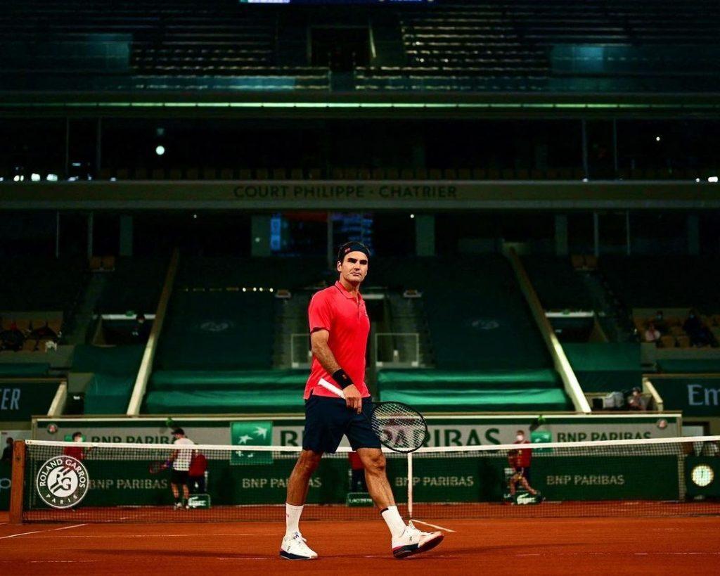 Roger Federer ar the Halle Open in 2021