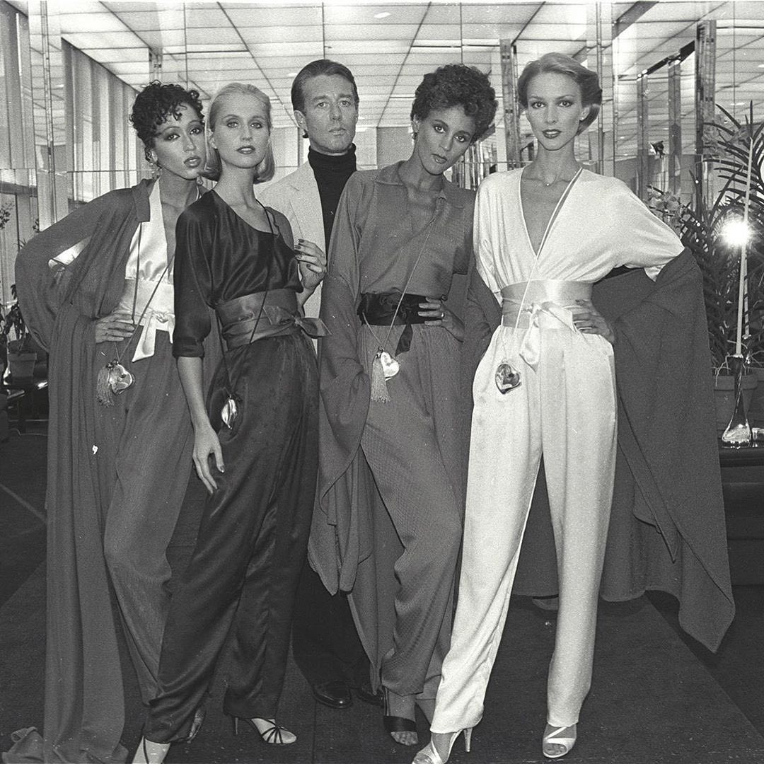 Halston with models