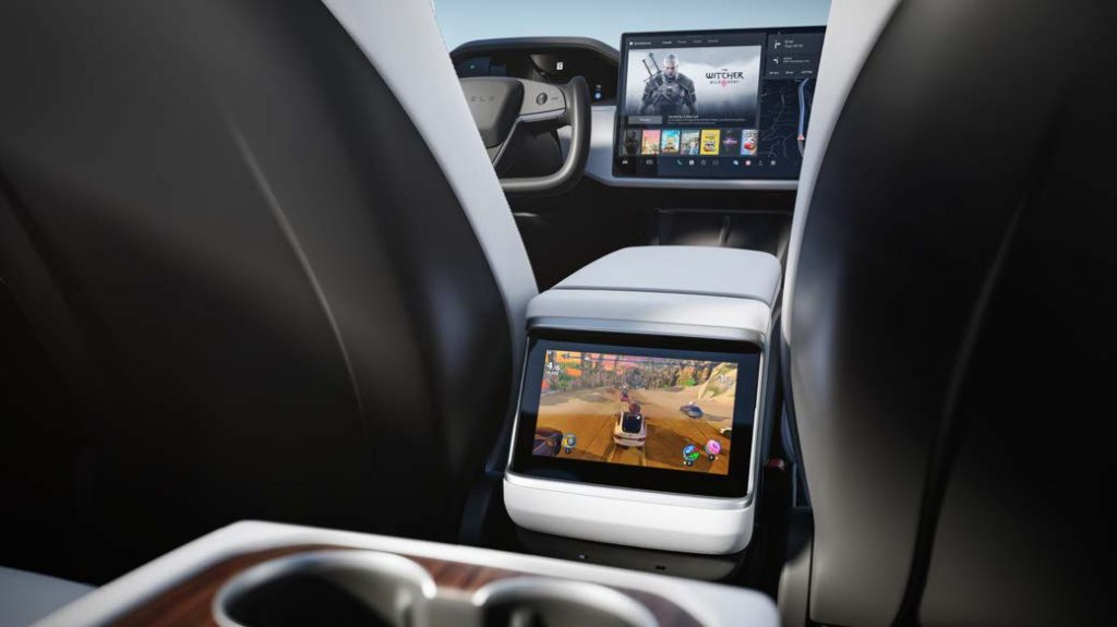 Tesla Model S 8-inch screen with wireless controller support