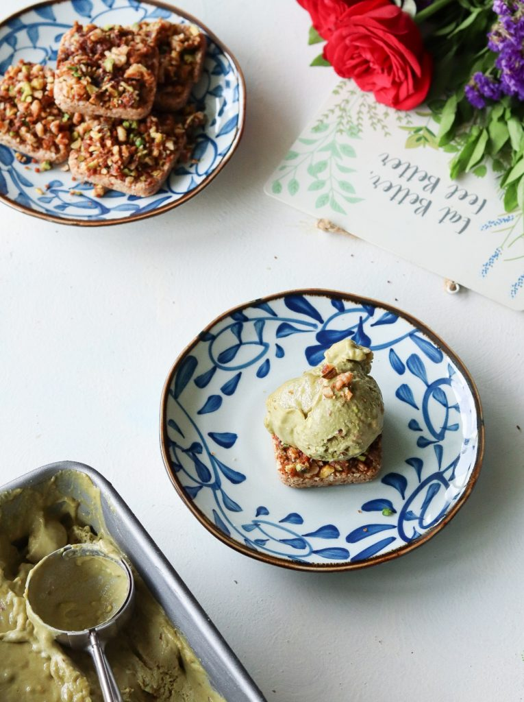 Pistachio baklava bars with a vegan pistachio ice cream at Yogisattva Cafe, Khar (West)
