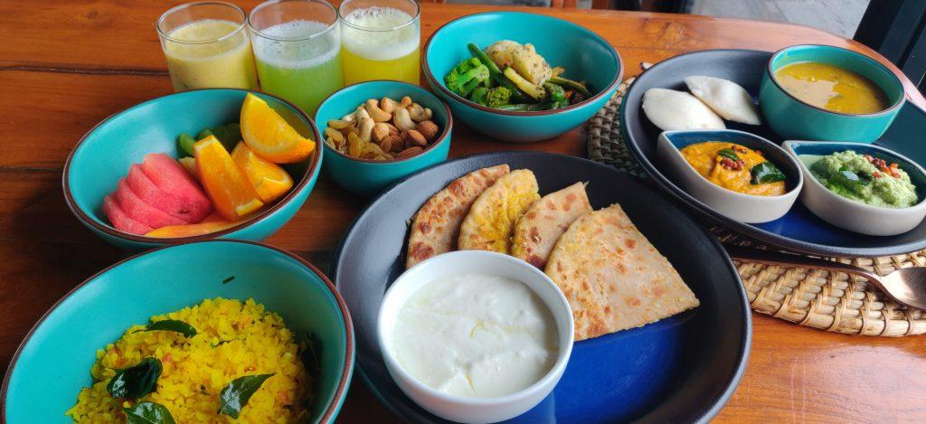 Breakfast spread at Viveda Wellness Retreat