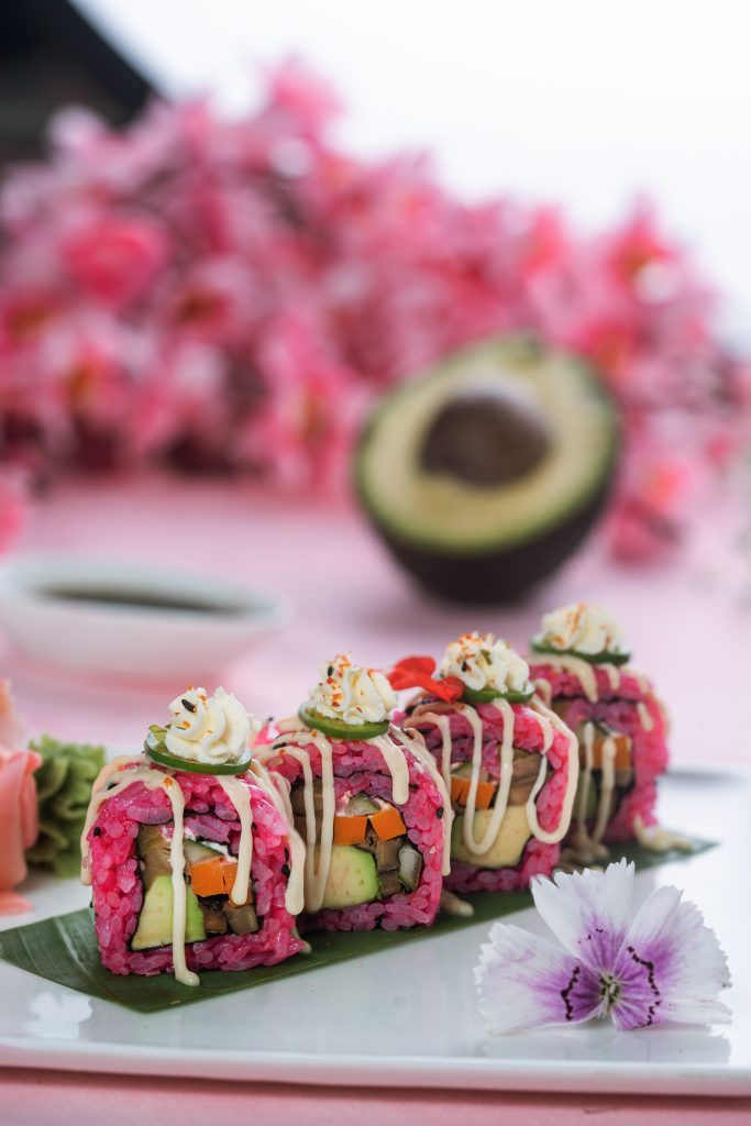 Pink wasabi special roll