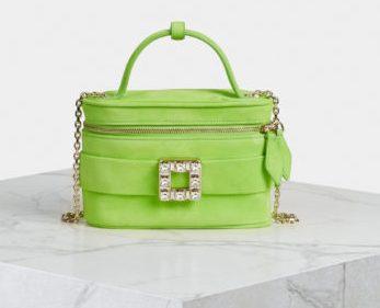 Roger Vivier Vanity Strass Buckle Bag in Suede